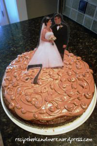 personalize a brownie cake with laminated photos or numbers