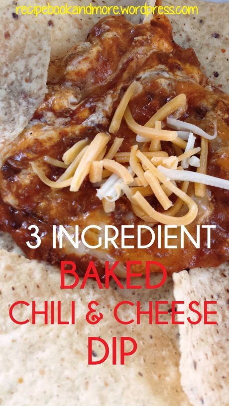 3 Ingredient Chili and Cheese Dip - awesome warm cheesy goodness baked in the oven.